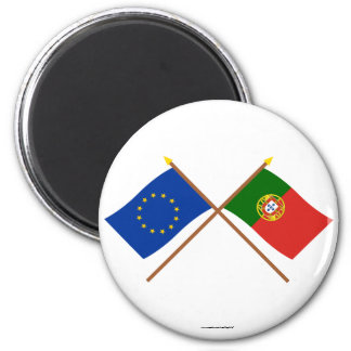 EU and Portugal Crossed Flags Magnet