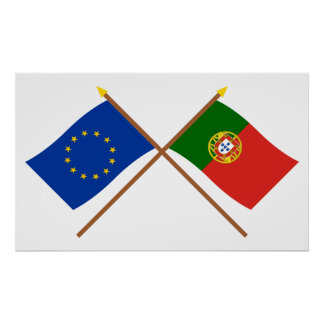 EU and Portugal Crossed Flags Poster