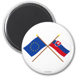 EU and Slovakia Crossed Flags Magnet