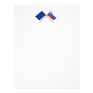 EU and Slovenia Crossed Flags Letterhead