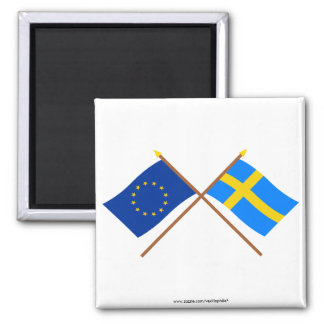 EU and Sweden Crossed Flags Magnet