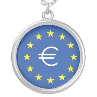 EU flag.with EURO Symbol Silver Plated Necklace