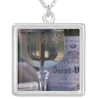 EU, France, Chablis, Local wine Silver Plated Necklace