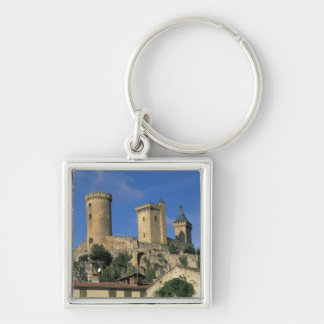 EU, France, Foix, Ariege, Pyrenees. Chateau Silver-Colored Square Keychain
