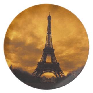 EU, France, Paris.  Eiffel Tower. Dinner Plate