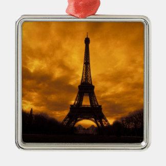 EU, France, Paris.  Eiffel Tower. Square Metal Christmas Ornament