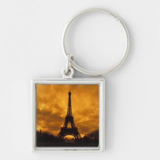 EU, France, Paris.  Eiffel Tower. Silver-Colored Square Keychain