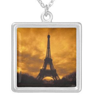 EU, France, Paris.  Eiffel Tower. Silver Plated Necklace
