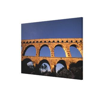 EU, France, Provence, Gard, Pont du Gard. Roman Canvas Print