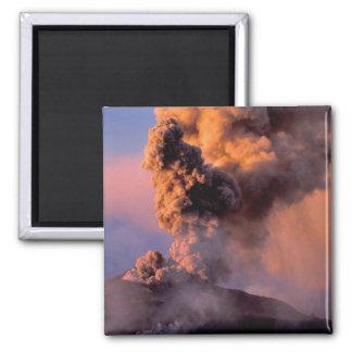 EU, Italy, Sicily, Mt. Etna summit vent 2 Inch Square Magnet