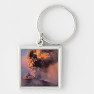 EU, Italy, Sicily, Mt. Etna summit vent Silver-Colored Square Keychain