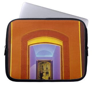 EU, Spain, Barcelona. Lit doorway near Picasso Laptop Sleeves