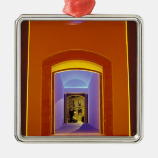 EU, Spain, Barcelona. Lit doorway near Picasso Christmas Ornaments