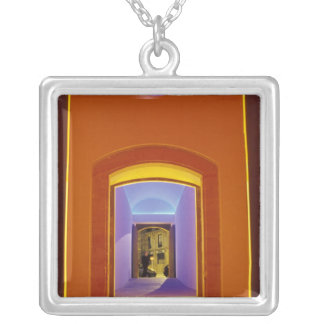 EU, Spain, Barcelona. Lit doorway near Picasso Silver Plated Necklace