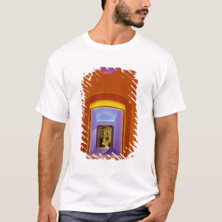 EU, Spain, Barcelona. Lit doorway near Picasso T-Shirt