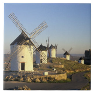 EU, Spain, La Mancha, Consuegra. Windmills and Ceramic Tile