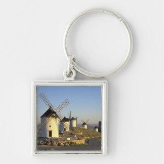 EU, Spain, La Mancha, Consuegra. Windmills and Silver-Colored Square Keychain