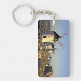 EU, Spain, La Mancha, Consuegra. Windmills and Double-Sided Rectangular Acrylic Keychain
