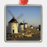 EU, Spain, La Mancha, Consuegra. Windmills and Christmas Ornament