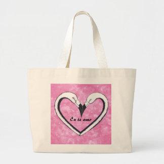 Eu te amo 2 Flamingo kiss heart Jumbo Tote Bag