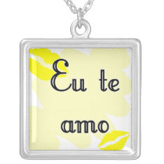 Eu te amo - Brazilian Silver Plated Necklace at Zazzle
