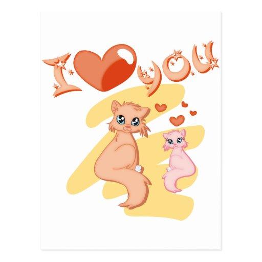 Eu te amo gatos - I love you cats Postal
