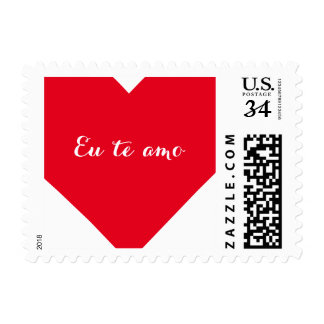 Eu te amo I Love You in Brazilian Heart US Postage