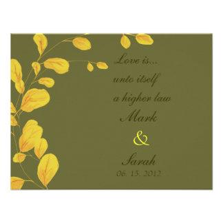 Eucalipto de oro RSVP de las hojas Invitación