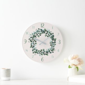 Eucalyptus and Green Leafy Contemporary Wall Clock