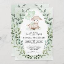 Eucalyptus Baby Sheep Little Lamb Neutral Shower Invitation