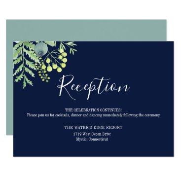 Wedding Themed Eucalyptus Berry Floral Wedding Reception Navy Card