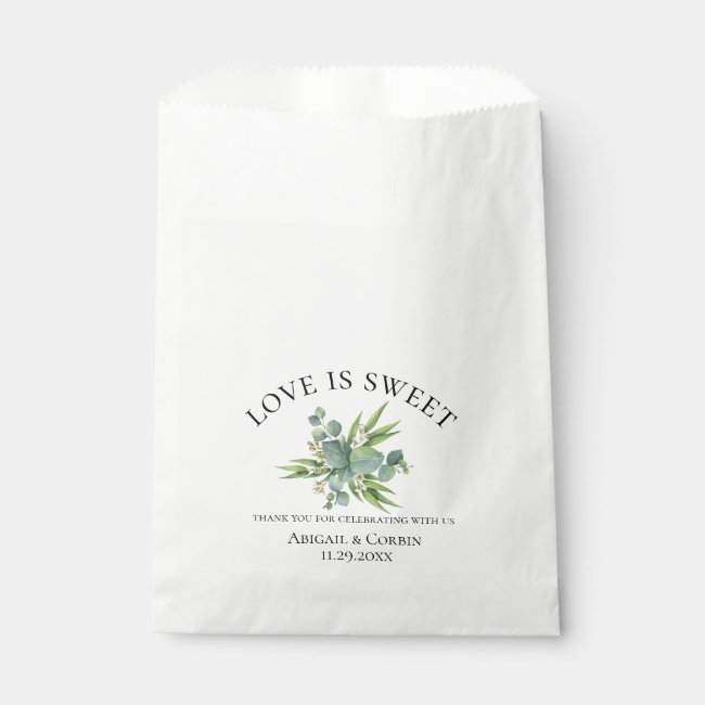 Eucalyptus Bouquet Wedding Favor Bag
