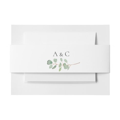 Eucalyptus Branch Wedding Invitation Belly Band