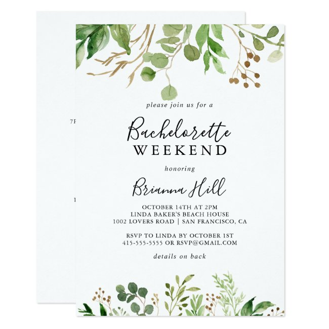 Eucalyptus Brown Floral Bachelorette Weekend Invitation