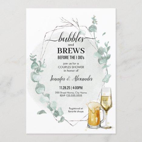 Eucalyptus Bubbles & Brews Shower Invitation