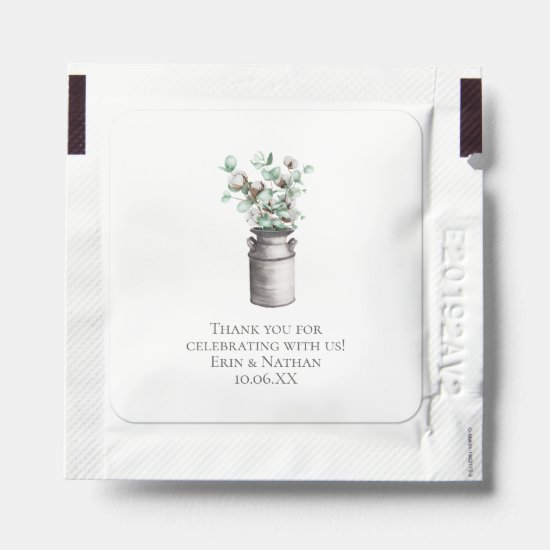 Eucalyptus & Cotton in Milk Can Wedding Favors Hand Sanitizer Packet
