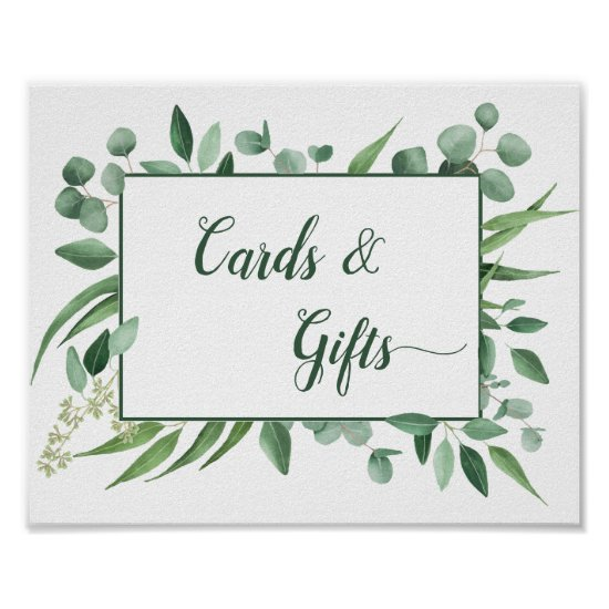 Eucalyptus Envy 8x10 Cards and Gifts Wedding Sign