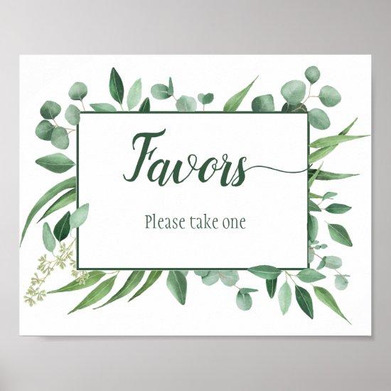 Eucalyptus Envy 8x10 Favors Wedding Sign