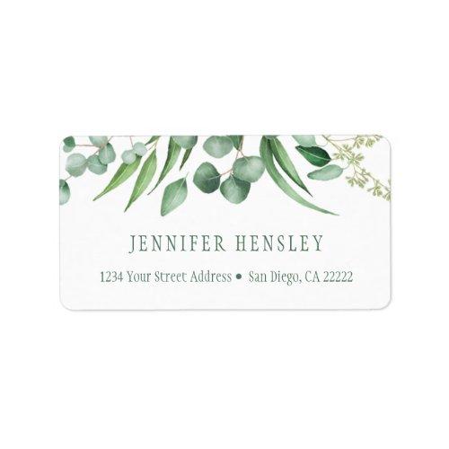 Eucalyptus Envy Botanical Address  Label