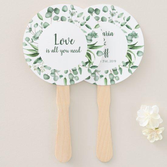 Eucalyptus Envy Botanical Wedding Program Fans