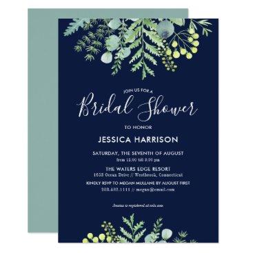 Wedding Themed Eucalyptus Floral Bridal Shower Invitation Navy