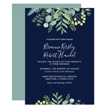 Wedding Themed Eucalyptus Floral Floral Wedding Invitation Navy