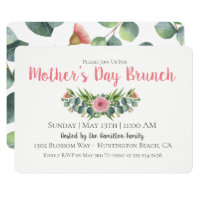 Eucalyptus Floral Mother's Day Brunch Invitation