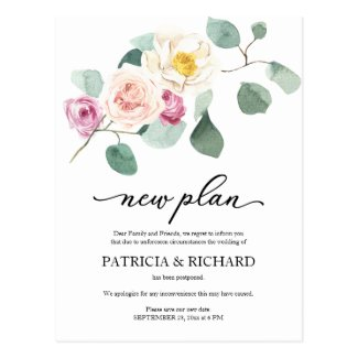 Eucalyptus Floral Wedding Postponement New Plan Postcard