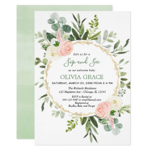 Eucalyptus Foliage Pink Gold Sip And See Invitation