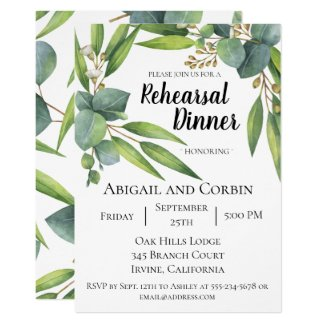 Eucalyptus Foliage Rehearsal Dinner Invitation
