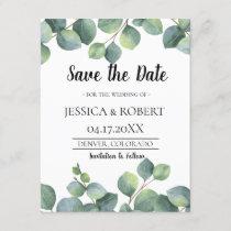 Eucalyptus Foliage Wedding Save the Date