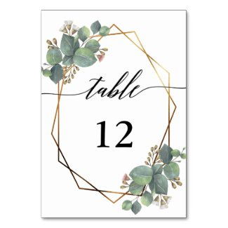 Eucalyptus geometric frame wedding table number