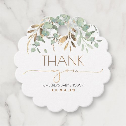 Eucalyptus Gold Greenery Baby Shower Thank You Favor Tags