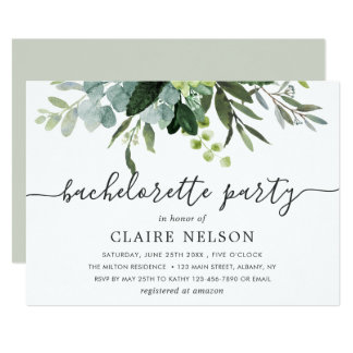 Eucalyptus Green Foliage Bachelorette Party Invitation